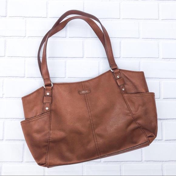 Relic Handbags - Relic Tan Faux Leather Shoulder Bag Purse 👜